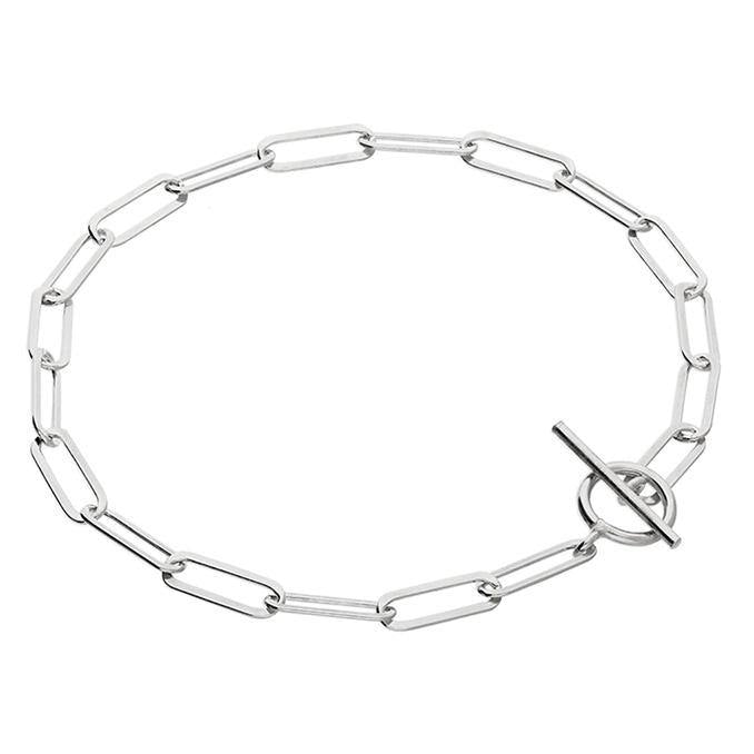 Flattened Oval Bracelet with T-bar clasp