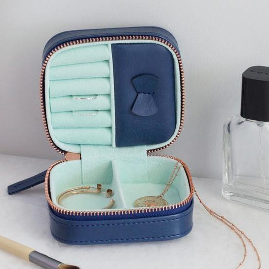 Travel Jewellery Case - Navy & Mint - Pretty Shiny Shop