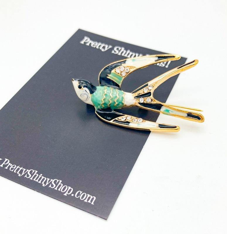 Enameled Swift Bird Brooch - Pretty Shiny Shop