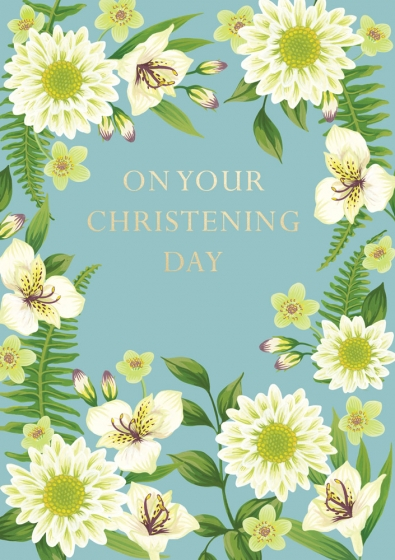 Happy Christening Day Flowers Card - Pretty Shiny Shop