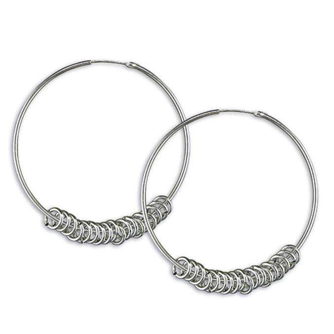 Hoop with Rings Earrings - Pretty Shiny Shop