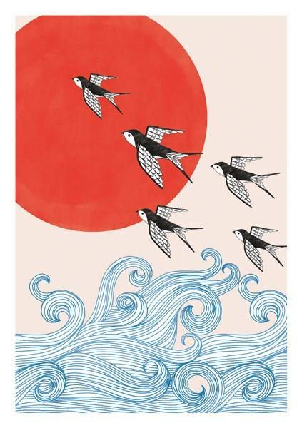 Swallows And Red Sun Card