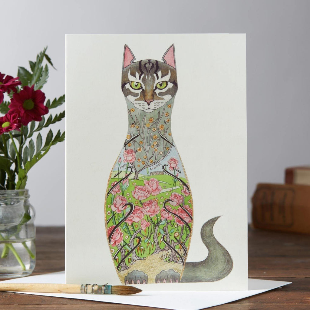 Cat in Rose Garden Card