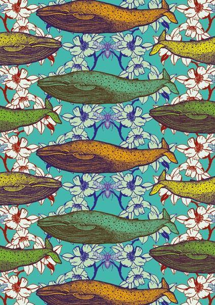 Floral Whale Card