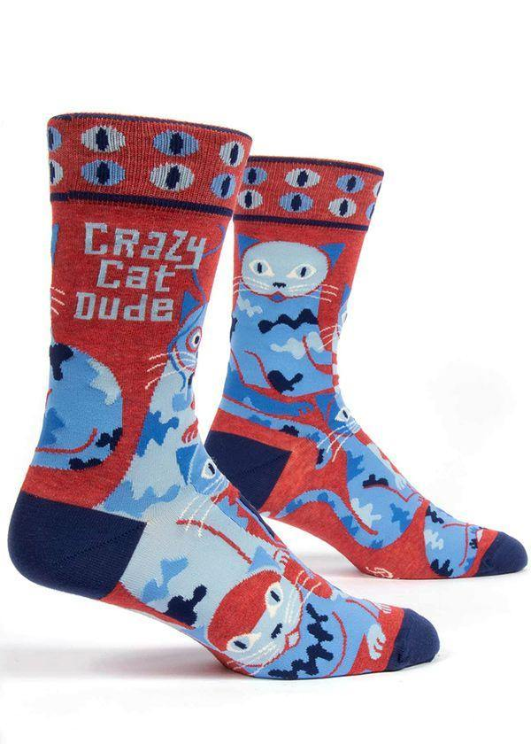 Crazy Cat Dude Socks - Men - Pretty Shiny Shop