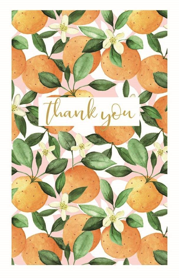 Note Cards - Thank You Orange and Blossom - Pretty Shiny Shop