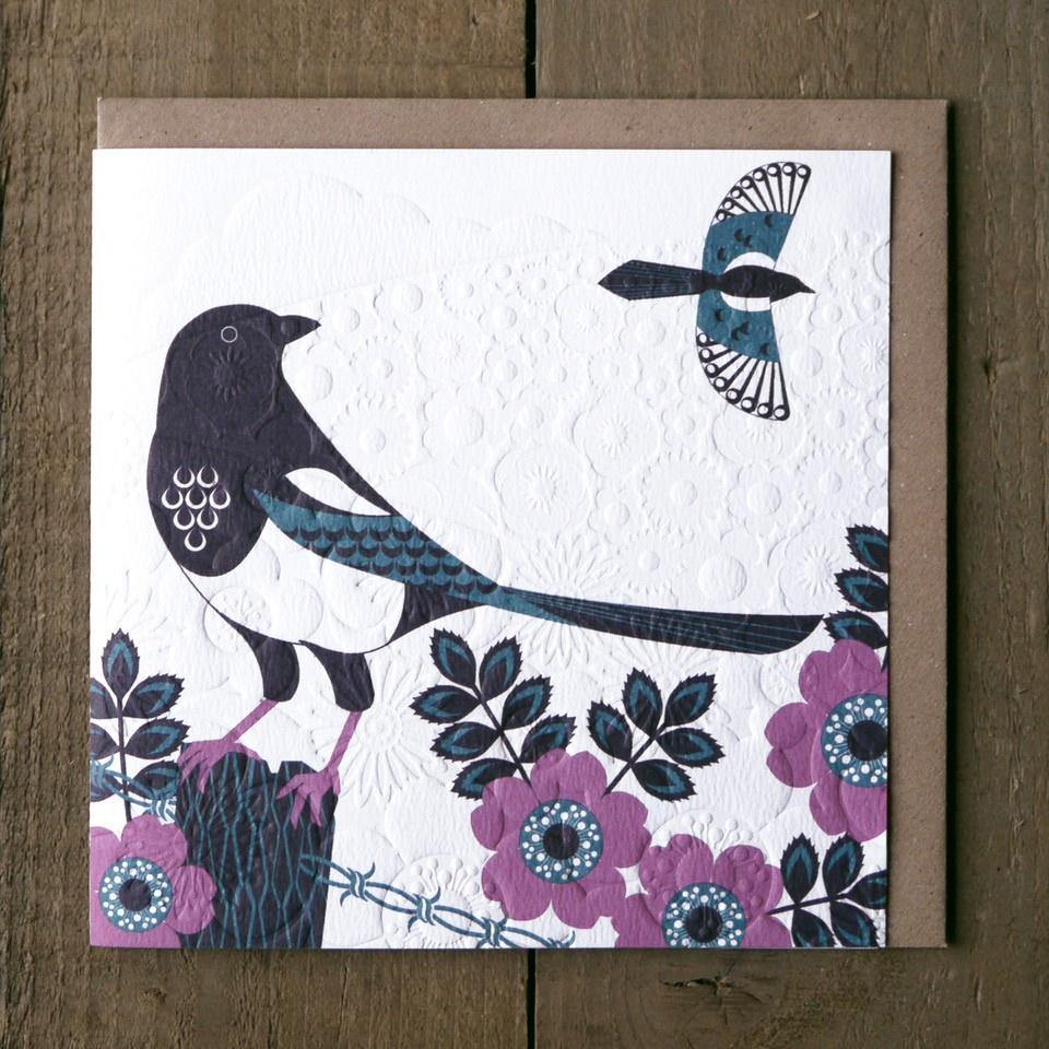Magpie Card - Lino King - Pretty Shiny Shop