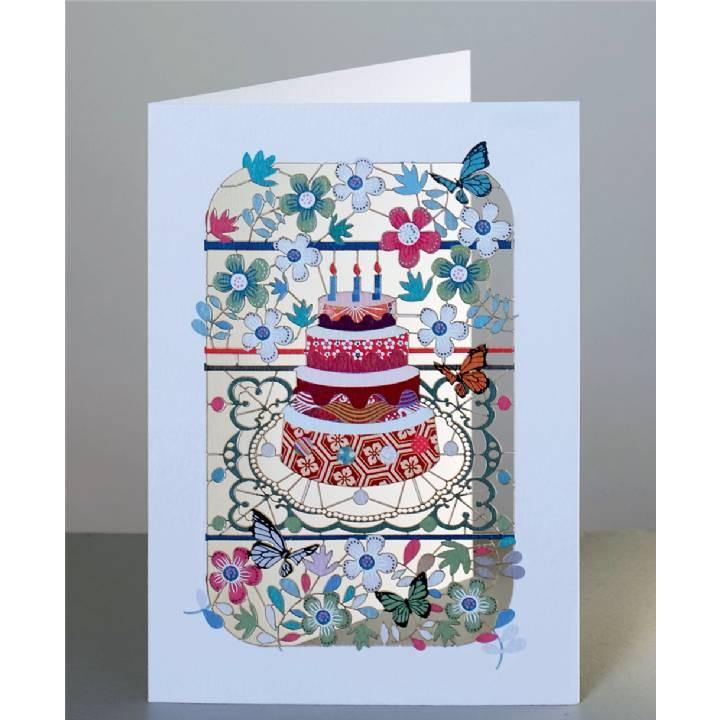 Birthday Cake and Flowers Laser Cut Card