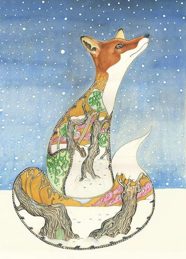 Fox in Snow Card