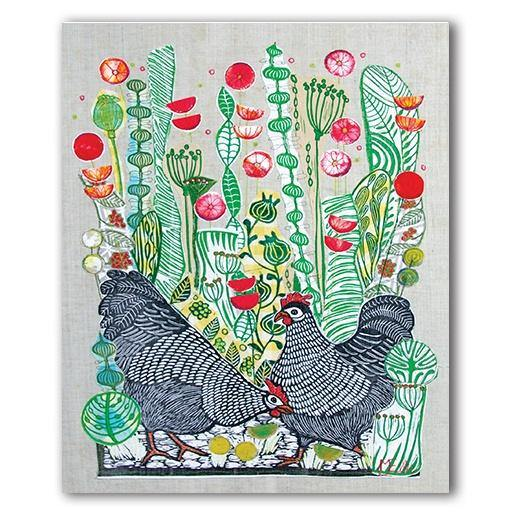 Hens In Poppies Card