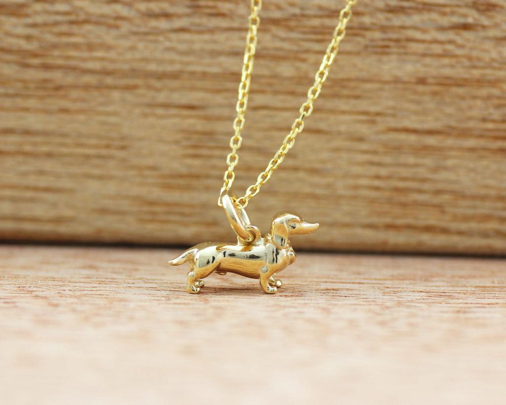 Tiny Dachshund Necklace - Gold