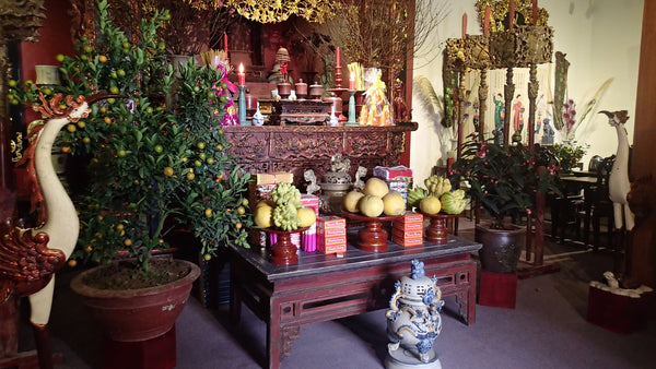 Five Fruit Tray on Ancestral Alter for Tet
