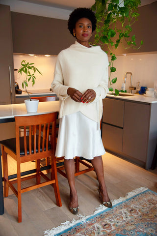 Winter White Outfit Cashmere Sweater with Silk Satin Skirt