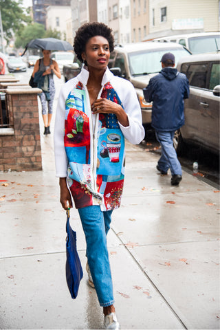 Thigh Length Blue Multicolored Cézanne Inspired Scuba Jacket for Fall Fashion