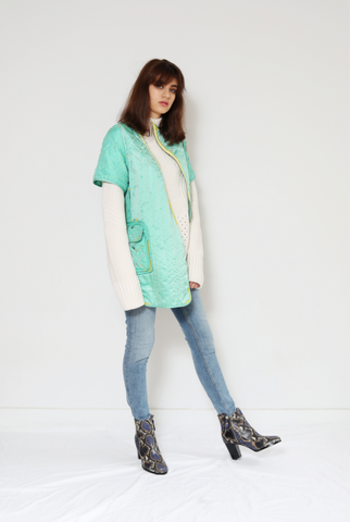 Green Quilted Silk Jacket