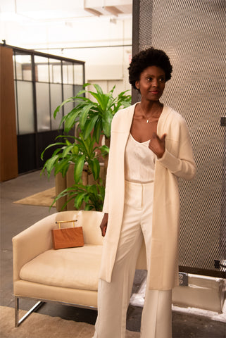 Classic Winter White Outfit with Nan Seo Cashmere Winter Coatigan