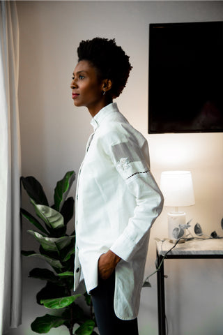 Women's White Linen Mandarin Collar Shirt