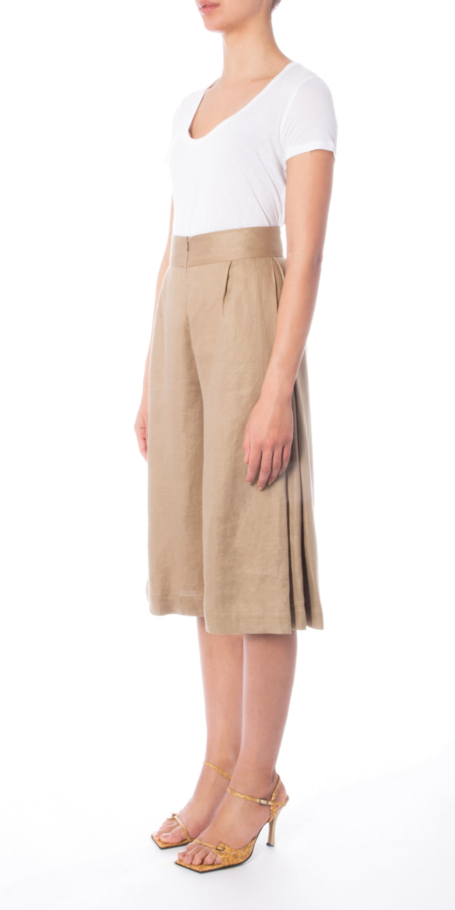 Beige Pleated Culottes