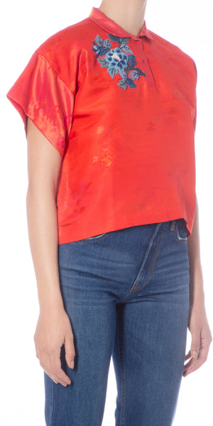 Cropped Metallic Silk-brocade Top