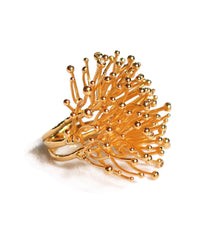 22K Gold Vermeil and Diamond Ring Shaped Like Sea Coral