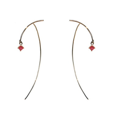 14K Gold Minimalist Earrings with Princess Cut Rubies for Day or Evening
