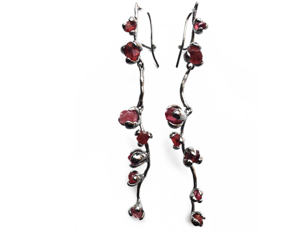 Blooming Multi-Crystal Long Earrings