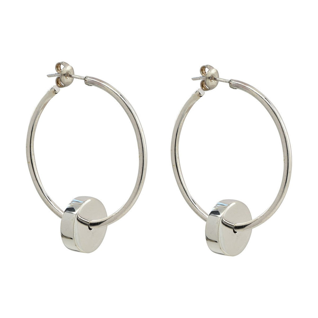 large thin silver hoop earrings with silver dangling cylinder