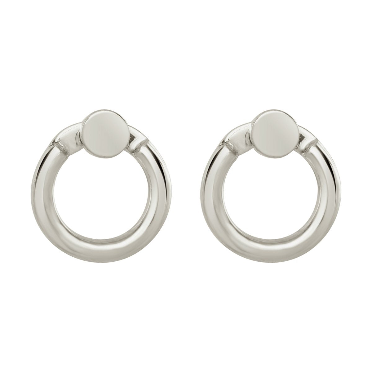 small silver hoop earrings with silver studs