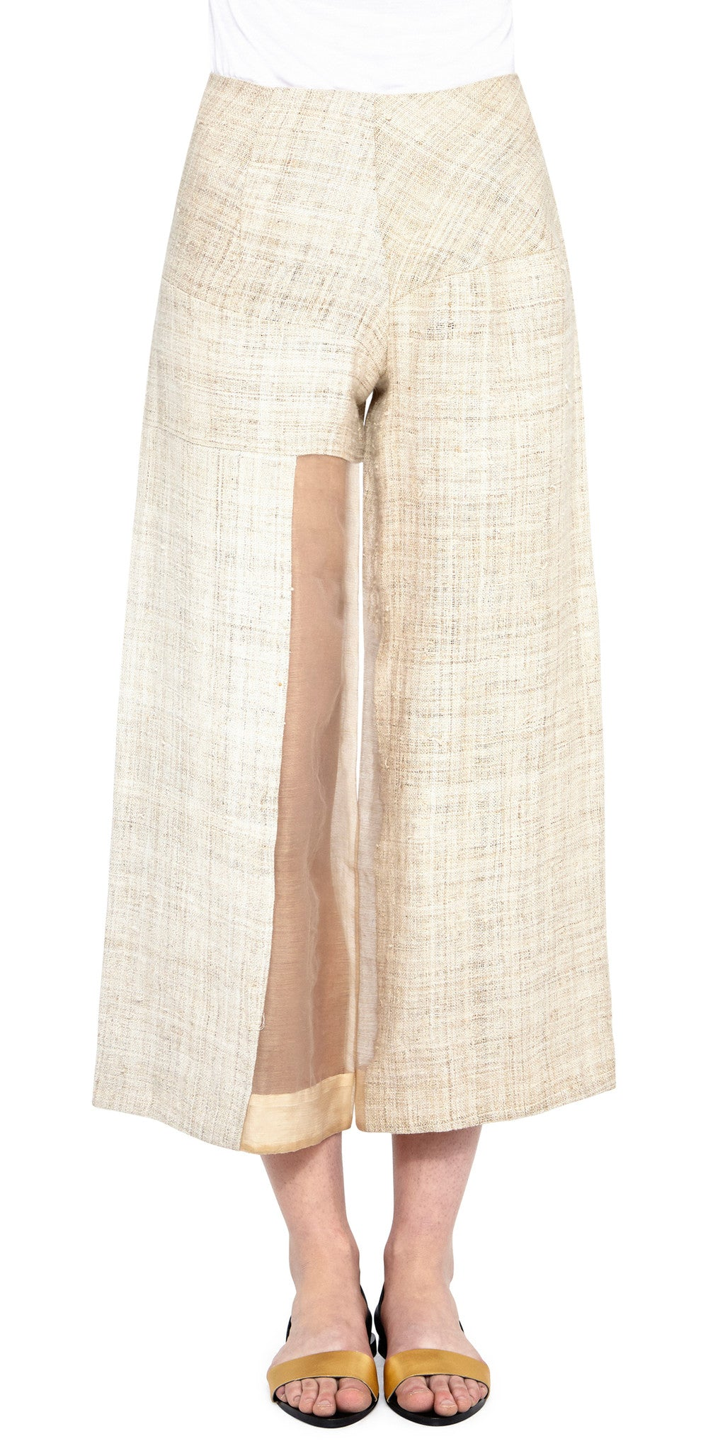 Ecru Grass Culotte Pants