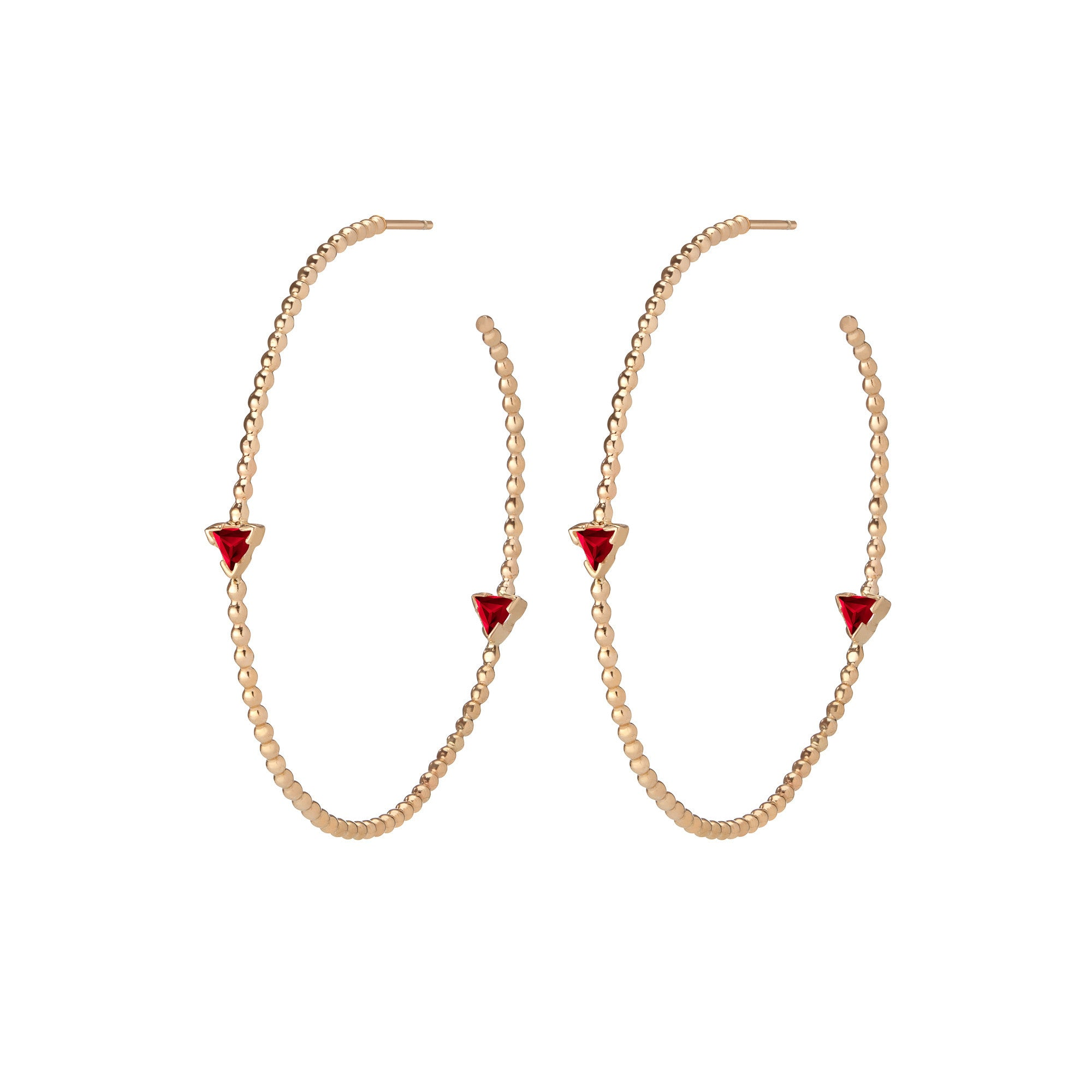 14K Gold Birthstone Hoop Earrings