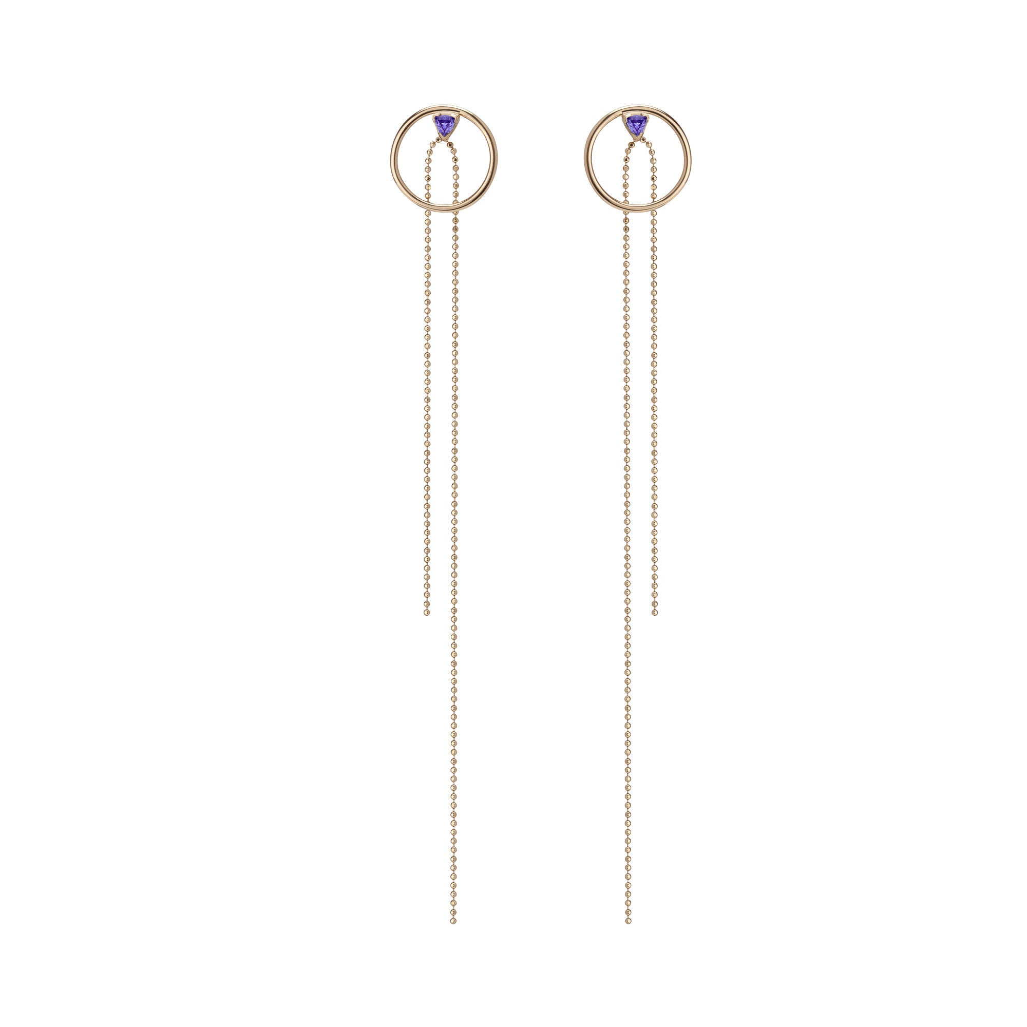14K Gold Birthstone Hoop Stud w/ Dangle