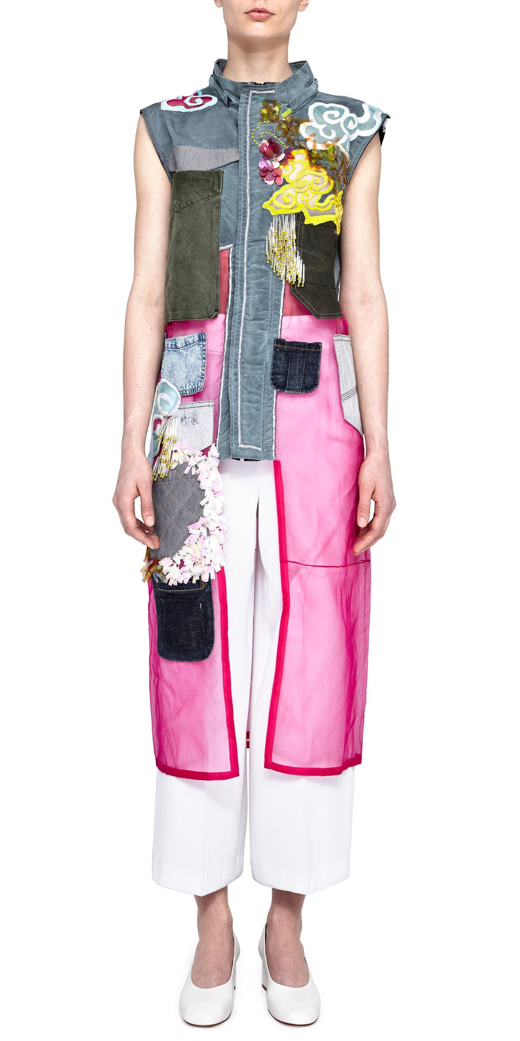 Deconstructed Mixed Media Long Vest