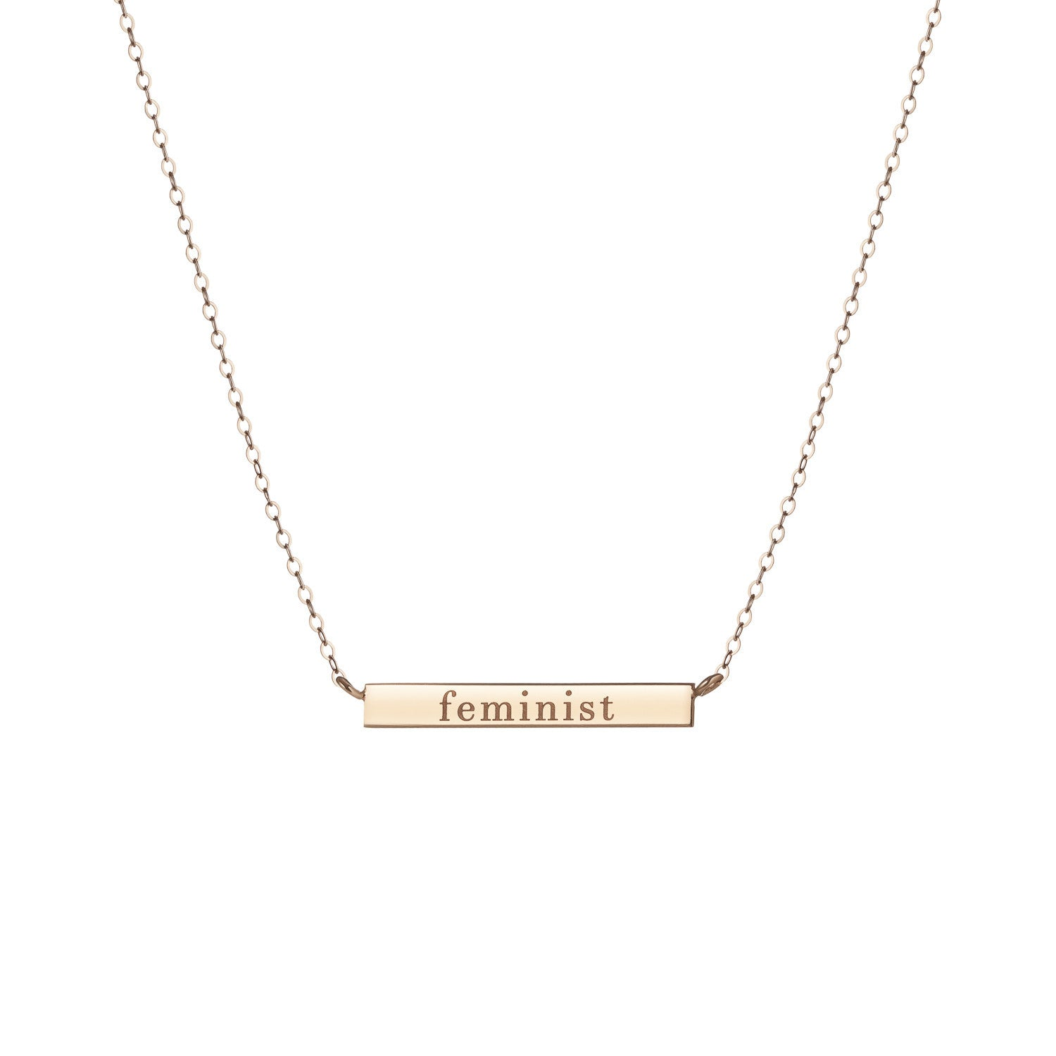 "14K Gold Bar Necklace with ""feminist"" engraving"