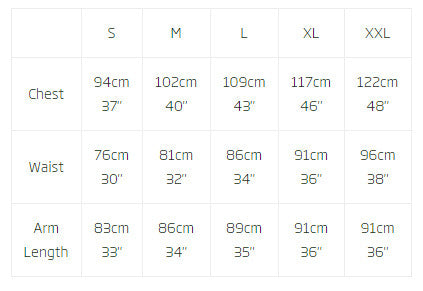Mens RAB Clothing sizing guide