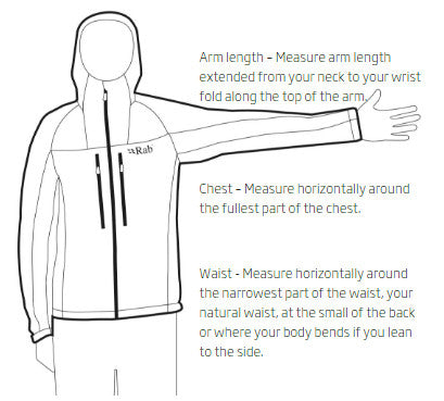 Mens- How to measure clothing RAB