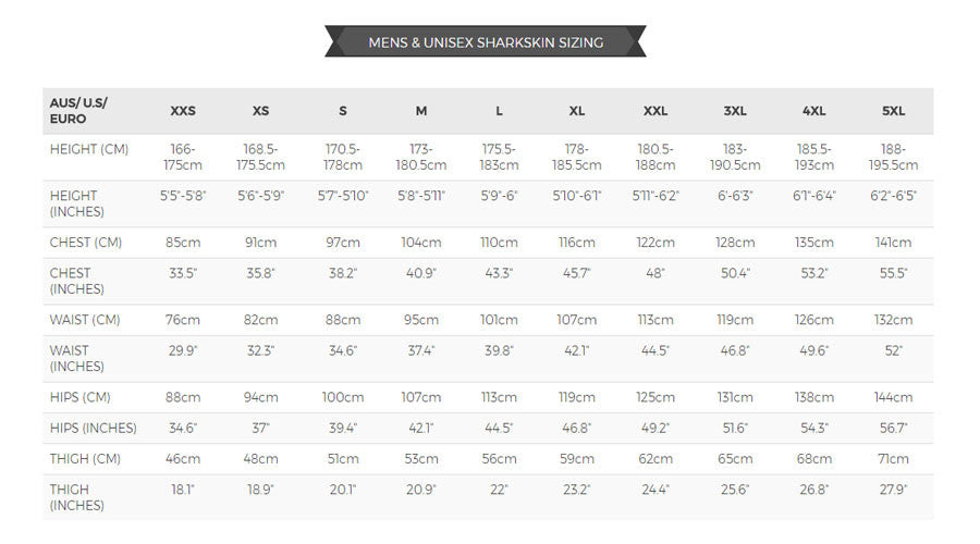 Sharkskin sizing chart- mens & unisex