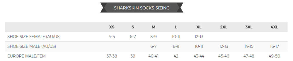 Sharkskin socks size guide