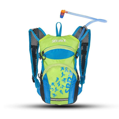 Source Spry 1.5L Kids Hydration Pack Blue/Green Side View