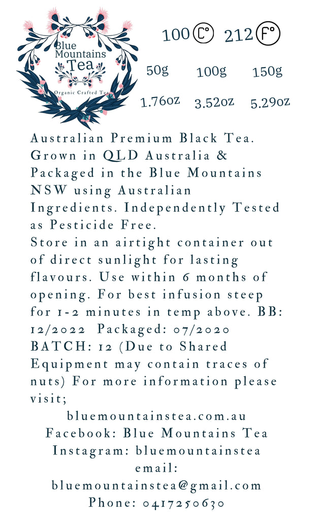 Australian Premium Black - Blue Mountains Tea Co, the back label shows that this tea is grown in Australia in the northern regions.