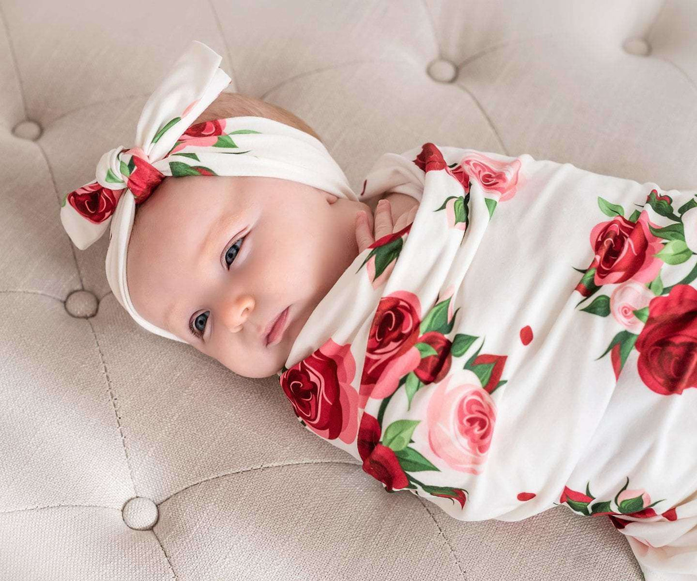 Delicate Red Roses Baby Swaddle Headband Set Charlies Project Kids