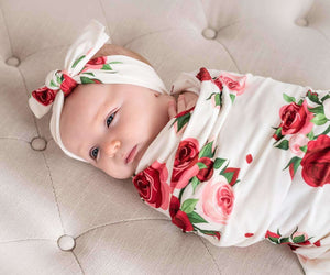 Delicate Red Roses Baby Swaddle & Headband Set