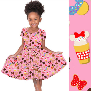 Mini Pink Snacks Twirl Hugs Dress