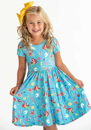 Pre-Order Birthday Special - Little Mermaid - Twirl Dress with Pockets
