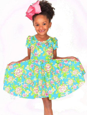 Pre-Order Birthday Special - Spring Turtle - Twirl Dress with Pockets