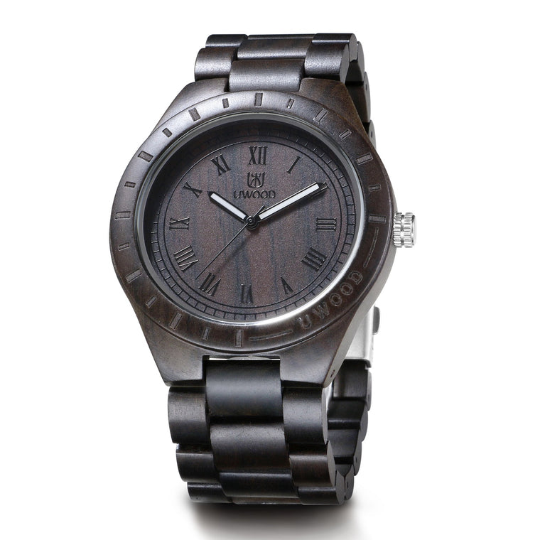 UWOOD UW001 Black Brown Sandal Wood Watch for Men