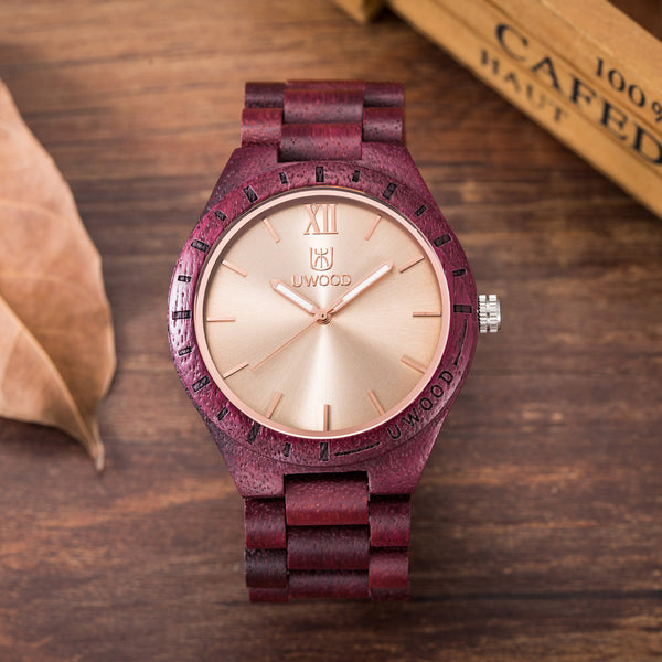 UWH001 Purple Heart Sandal Wood Watch for Men