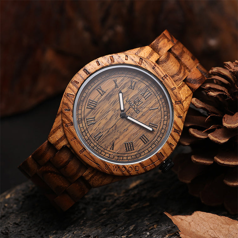 Uwood Zebra Wood WristWatch Men's Wooden Watch Unique Gift