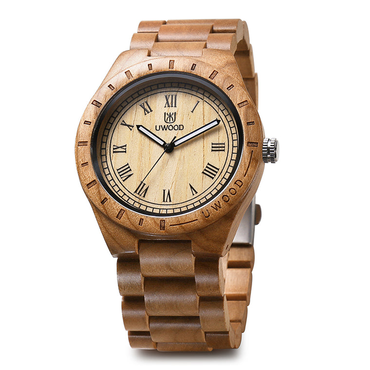 UW-1001 Natural Cherry Wood Watches for Men