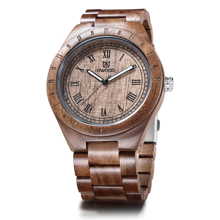 UWH001 Tan Natural Walnut Wood Watch for Men