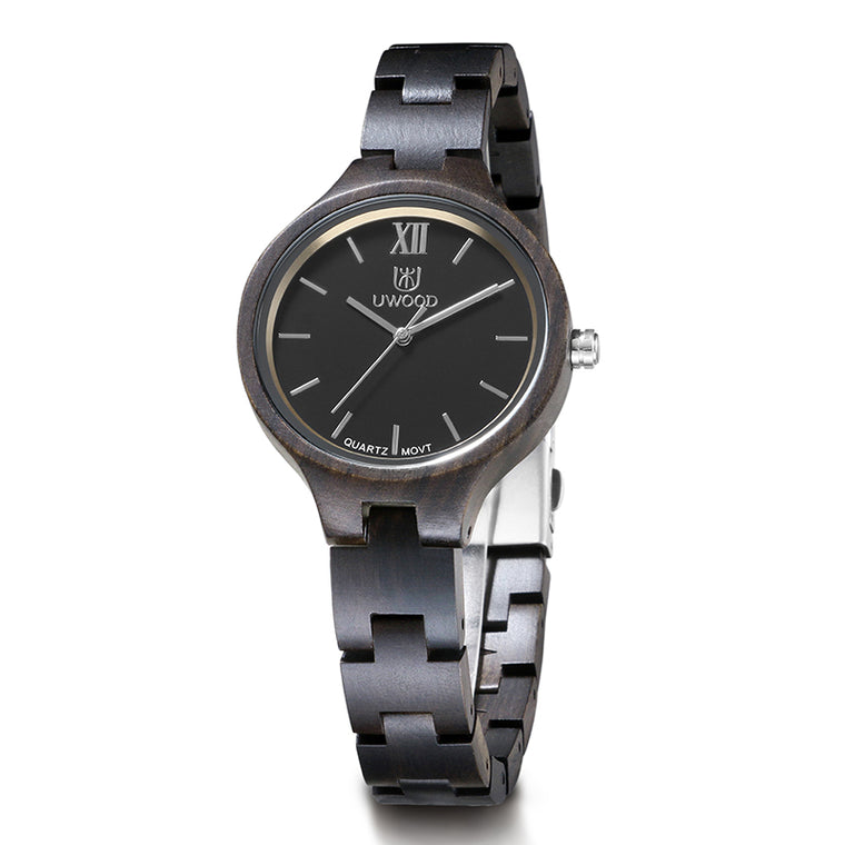UWH1003 Black Sandal Wood Watch for Women Ladies